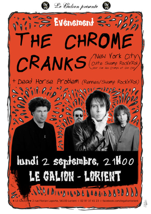 Affiche pour le groupe de musique The Chrome Cranks de Cincinnati, Ohio